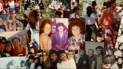 A collage of laid out photos of White and Latinx cis teenage girls and Latinx gender non-binary teens, smiling at the camera, playing, dancing, eating, kissing cheeks. Many of the photos are faded/yellowed and appear to be relatively old.